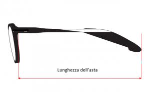 lunghezza dell'asta dell'occhiale